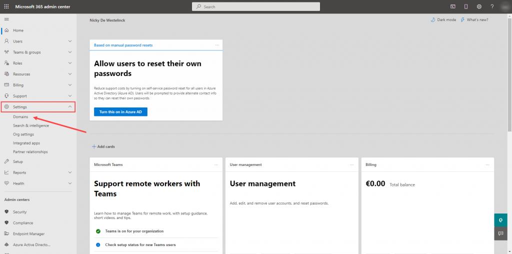 Microsoft 365 Admin Center => Settings => Domains