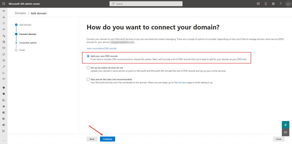 Microsoft 365 - Add DNS records