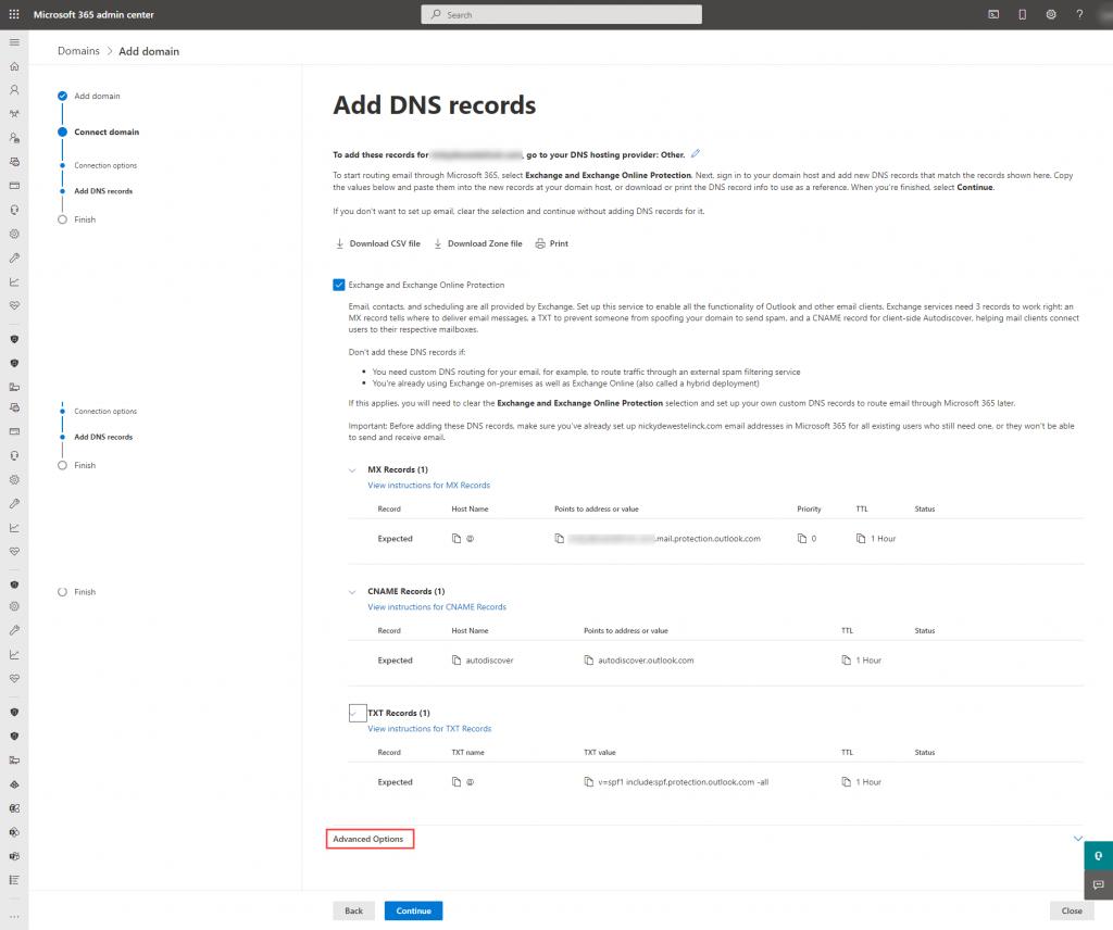 Microsoft 365 - Domain DNS records